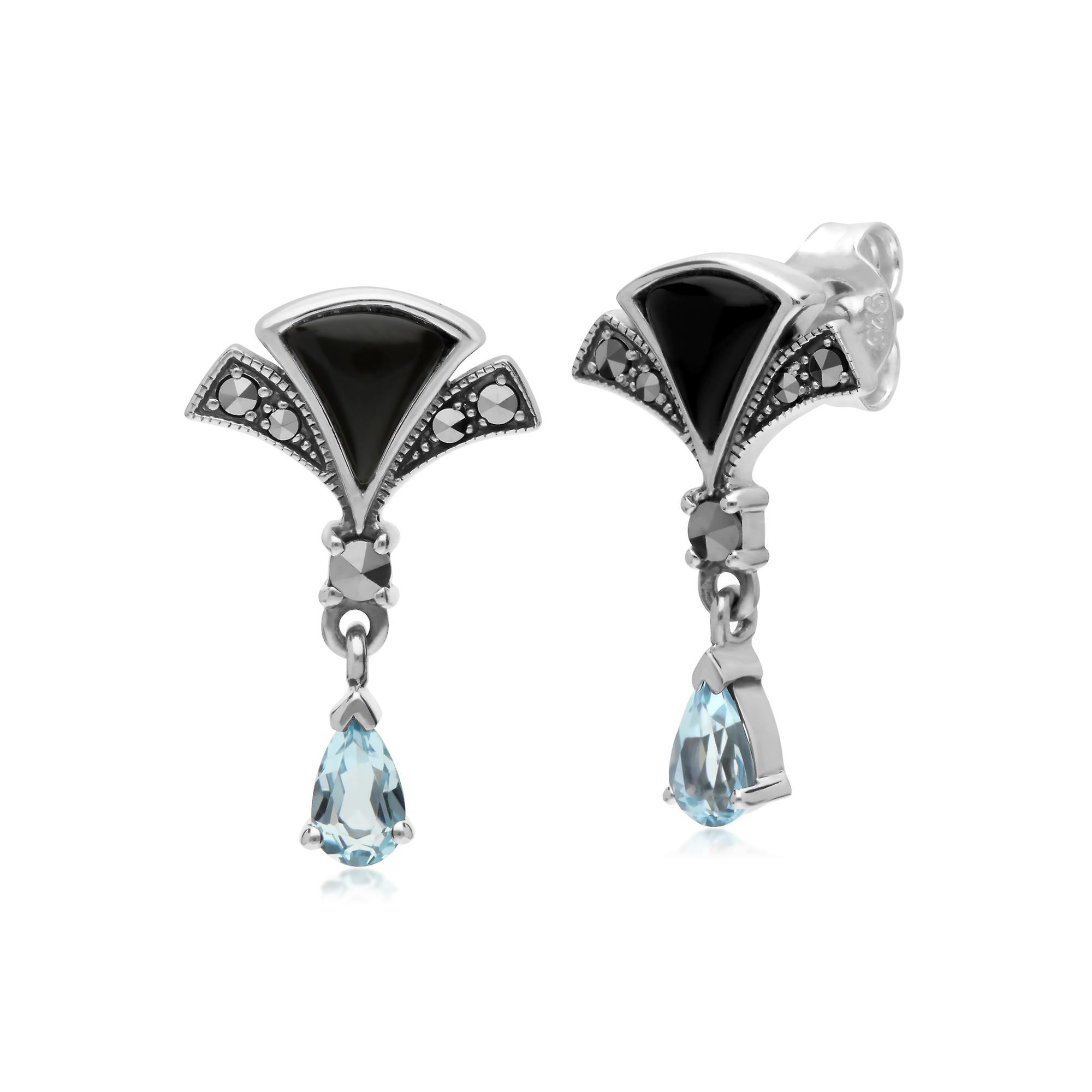 Gemondo Sterling Silver Blue Topaz, Black Onyx and Marcasite Fan Drop Earrings