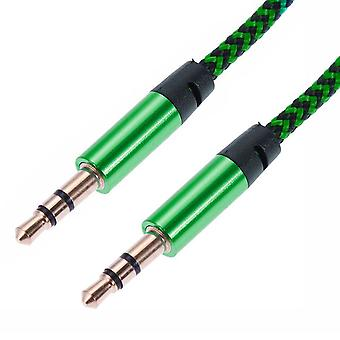 1m woven 3.5 mm Aux cable-Green