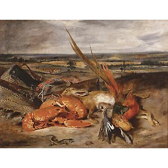 Still Life with a Lobster and Trophies, Eugene Delacroix, 50x40cm