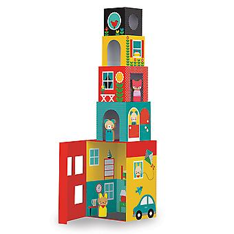 Пети коллаж Peek-A-Boo дом укладывая блоки играть набор