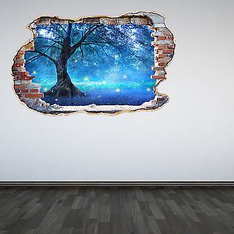 اللون الكامل الخيالية صوفية شجرة حطموا الجدار تأثير 3D الجدار اللاصق