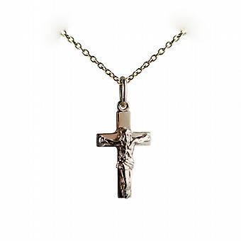 9ct goud 17x10mm massief blok kruisbeeld kruis met een kabel ketting 20 inch