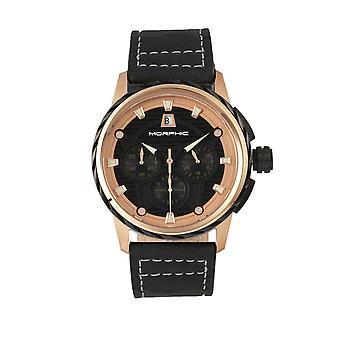 Morphic pozri M61 Series Chronograph kožené-Band hodinky w/Date-ružové zlato/čierna