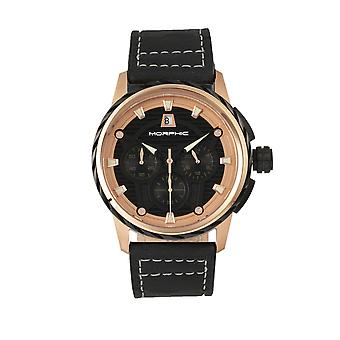Morphic M61 Series Chronograph bőr-Band Watch w/Date-Rose Gold/Black