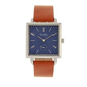 Simplify The 5000 Leather-Band Watch - Brown/Blue