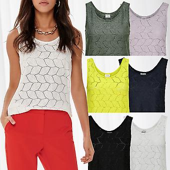 JDY Women's Lace Pattern Tank Top Jersey Shirt Sleeveless Underwear Casual Sport