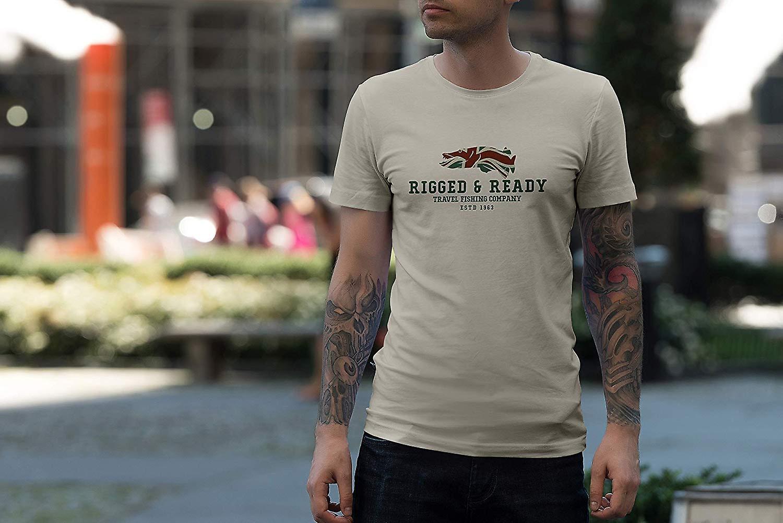 Rigged & Ready Travel Fishing Company Logo T-shirt.