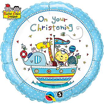 Qualatex 18 Inch On Your Christening Animal Boat Circular Foil Balloon