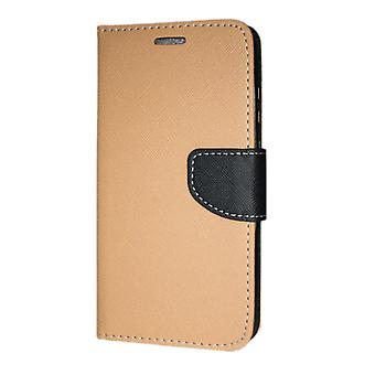 Samsung Galaxy A30 (A305) Wallet case Fancy Case + hand Strap gold-Black