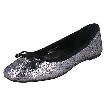 Ladies Star Flat Glitter Ballerina / Square Toe / Bow Vamp