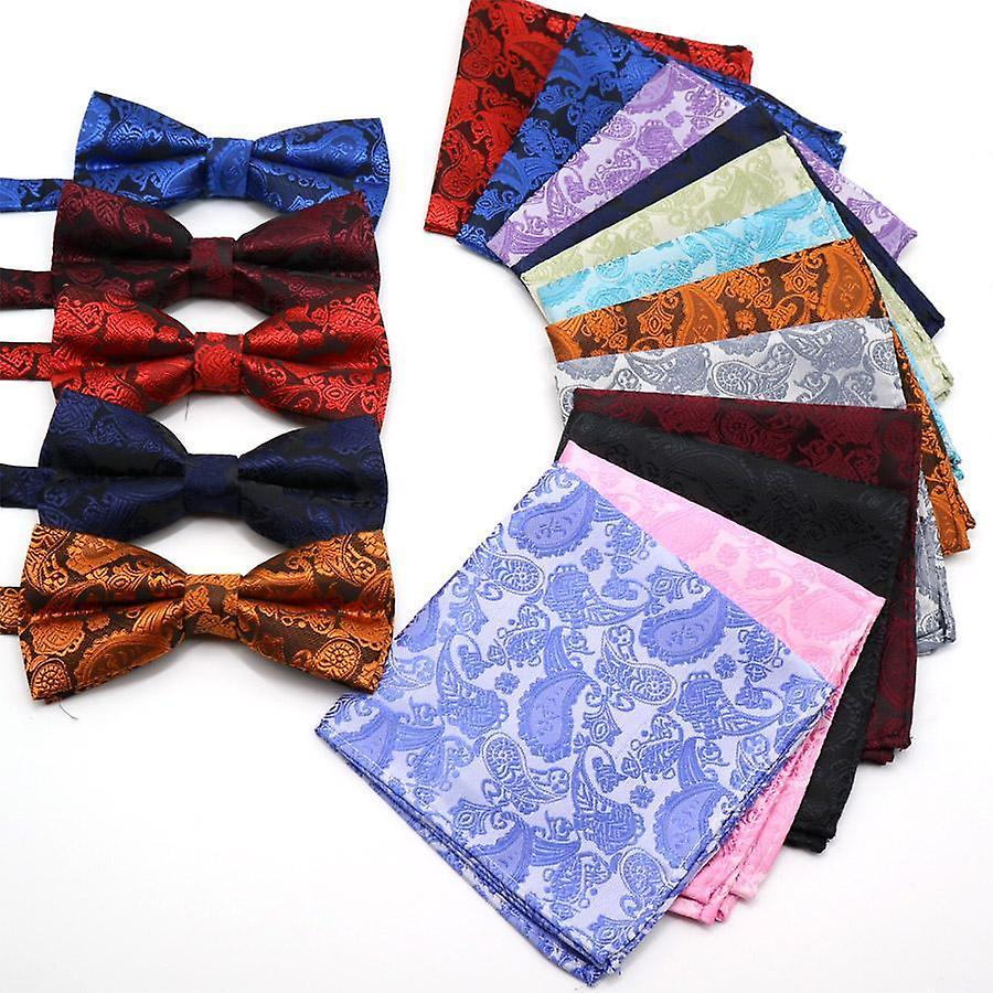 Blue red & yellow paisley bow tie & pocket square set