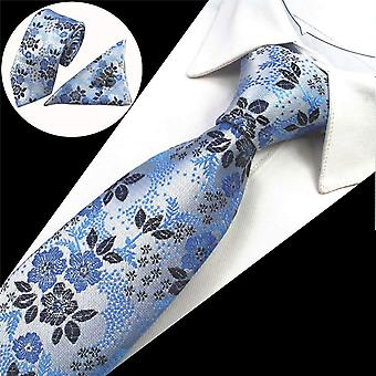 Baby blue floral matching tie cuff link & pocket square