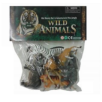 野生のジャングルの動物のおもちゃの数字 6 Pk
