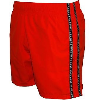 HUGO Anguilla Logo Tape Swim Shorts, Orange/black