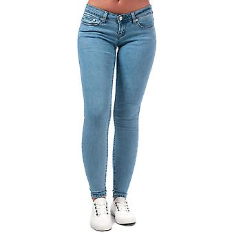 Womens Only Wonder Coral Low Skinny Jeans In Light Blue Denim