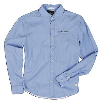 Scotch & Soda Electric Blue Long Sleeve Plain Shirt