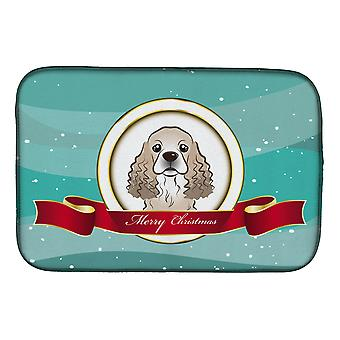 Carolines Treasures  BB1526DDM Cocker Spaniel Merry Christmas Dish Drying Mat