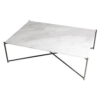 Gillmore White Marble Rectangular Coffee Table With Gun Metal Cross Base