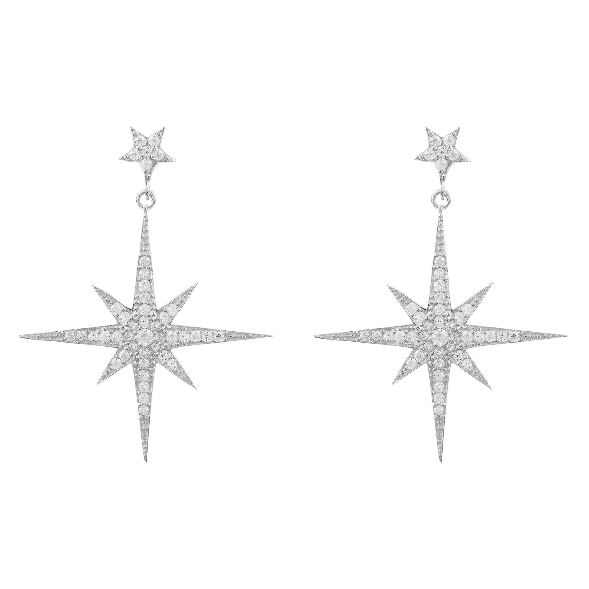 Latelita Earrings 925 Sterling Silver Star Burst Starburst Wedding Bridal CZ