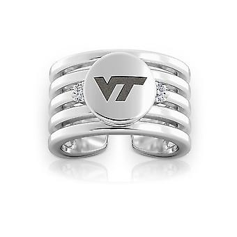 Virginia Tech Engraved Sterling Silver Diamond Multiband Cuff Ring