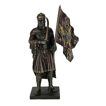 Byzantine Emperor Constantine XI Palaiologan Bronze Finish Statue