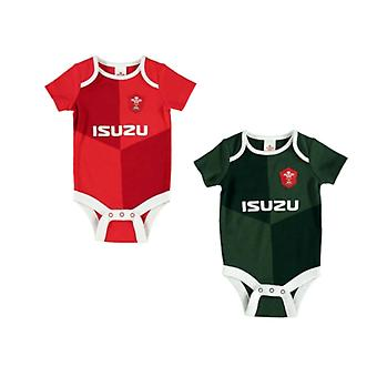 Wales WRU Rugby Baby 2 Pack Bodysuits | Red/Green | 2019/20 Season