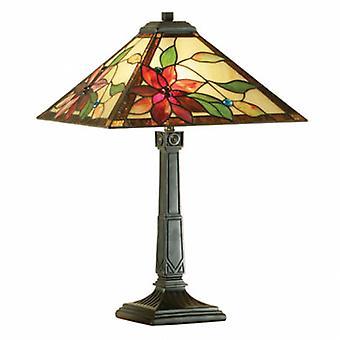 2 lámpara de mesa mediana luz bronce oscuro, vidrio Tiffany