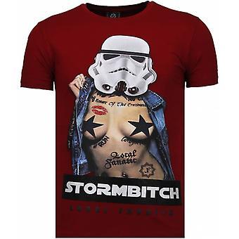T-shirt Stormbitch-Rhinstone-Bourgogne