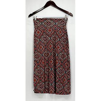 Bobeau Skirt Elastic Waist Printed Maxi Style Brown
