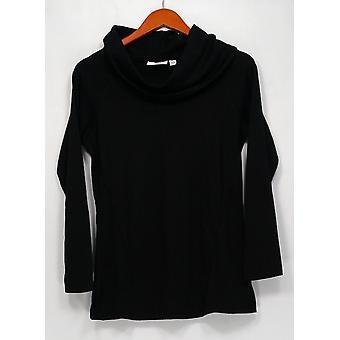 Denim & Co. Top XXS taivaallinen Jersey drape kaula tunika musta A270156
