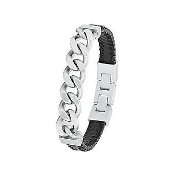 s.Oliver Jewel Men's Bracelet Leather Stainless Steel Tank Chain 2026118