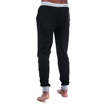 Mens Ben Sherman Jersey Lounge Jog Pants In Black- Ribbed Cuffs And Waistband-