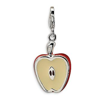 925 Sterling Silver Rhodium plated Fancy Lobster Closure 3 D Enameled Apple Half With Lobster Clasp Charm Pendant Neckla