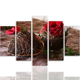 Five Part Picture On Canvas, Pentaptych, Type A, Decoration With Rose