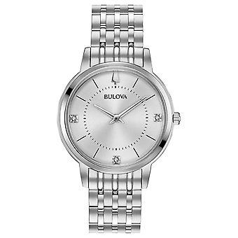 ブローバ 96P183 女性's ダイヤモンドセット シルバートーン腕時計