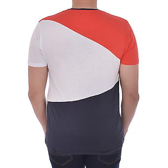 Brave Soul Mens Alfio Short Sleeve Casual Crew Neck T-Shirt Tee - Navy/White/Red