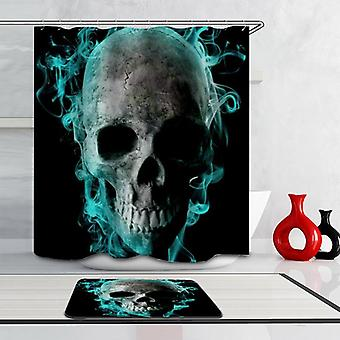 Turquoise Smoky Skull Shower Curtain