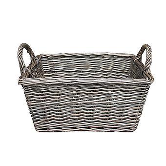 Large Wicker Antique Wash Finish Handled Unlined Storage Basket
