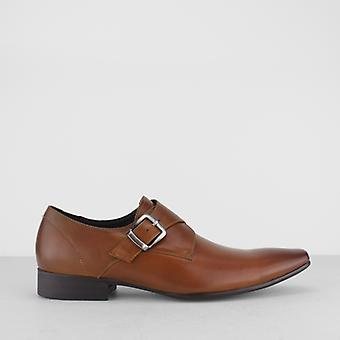 Blakeseys Gower Mens Leather Monkstrap Chisel Toe Shoes Tan