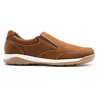 Padders Mendip Mens Leather Wide (g Fit) Slip On Shoes Tan