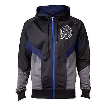 Avengers Infinity War hologram logo Herre fuld længde hoodie XX-Large grå/blå