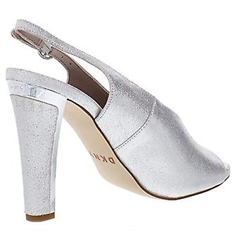 DKNY Womens Col Peep Metallic Suede Evening Heels Silver 9.5 Medium (B,M)