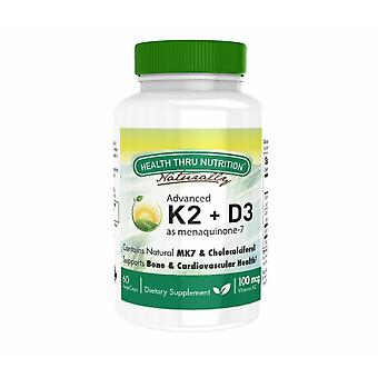 K2 (100 mcg als Menaquinon 7) + D3 (1000iu) (60 Vegicaps) - Health Thru Nutrition