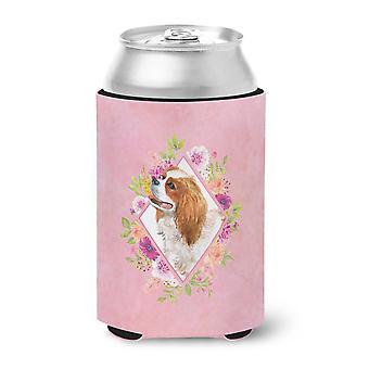 Cavalier King Charles Spaniel Pink Flowers Can or Bottle Hugger