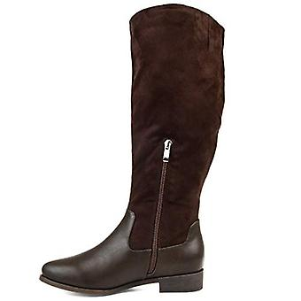 Brinley Co. Comfort Womens Two-Tone Riding Boot Brown, 7.5 Extra Wide Calf US