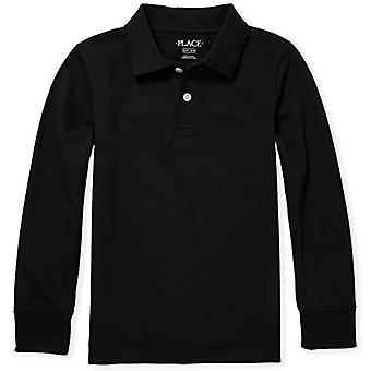 The Children's Place Big Boys' Long Sleeve Uniform Polo, Czarny, X-Large/14