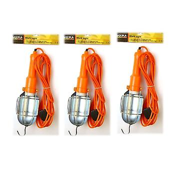 3 x Blackspur Mains Inspection Lamp DIY Hanging Hook Portable work light