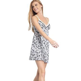 Variance NC752-9BE Women's Impertinente Midnight Blue Print Floral Non-Padded Non-Wired Nightdress