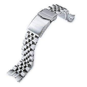 Strapcode watch bracelet 20mm angus jubilee 316l stainless steel watch bracelet for seiko sarb035, brushed, v-clasp