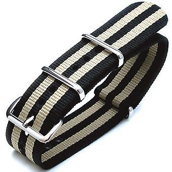 Strapcode nato 18mm g10 nato james bond schwere Nylon Band poliert Schnalle - j02 doppel schwarz + licht khaki
